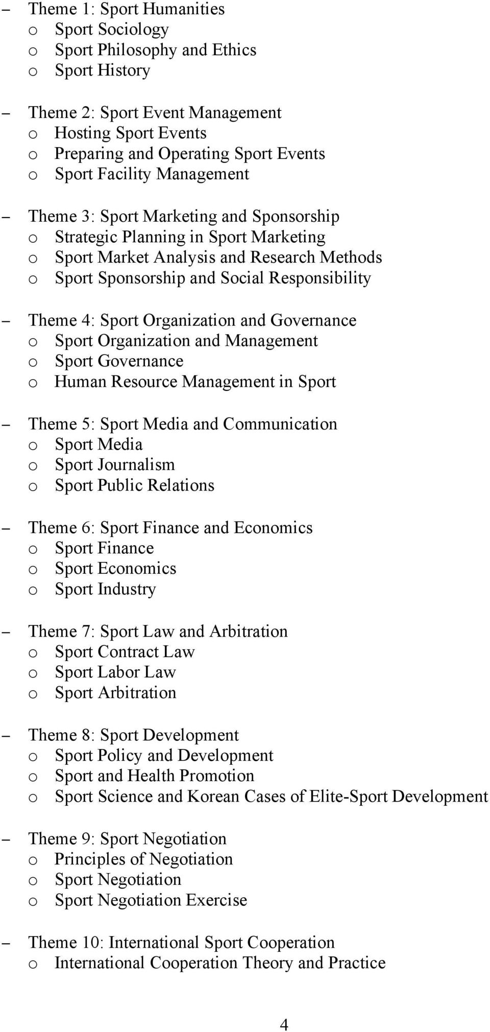 4: Sport Organization and Governance o Sport Organization and Management o Sport Governance o Human Resource Management in Sport Theme 5: Sport Media and Communication o Sport Media o Sport