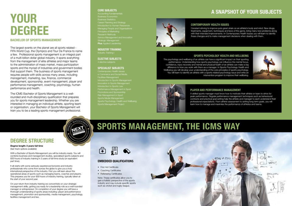 It spans everything from the management of elite athletes and major teams to the administration of mass market, mass participation sports and the myriad of industries and government bodies that
