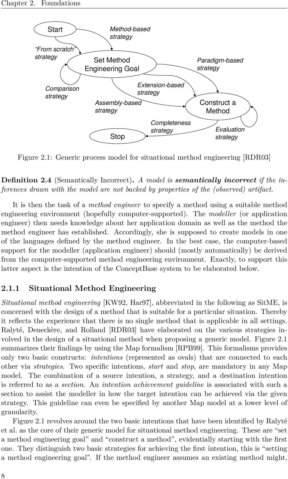 Paradigm-based strategy Construct a Method Evaluation strategy Figure 2.1: Generic process model for situational method engineering [RDR03] Definition 2.4 (Semantically Incorrect).