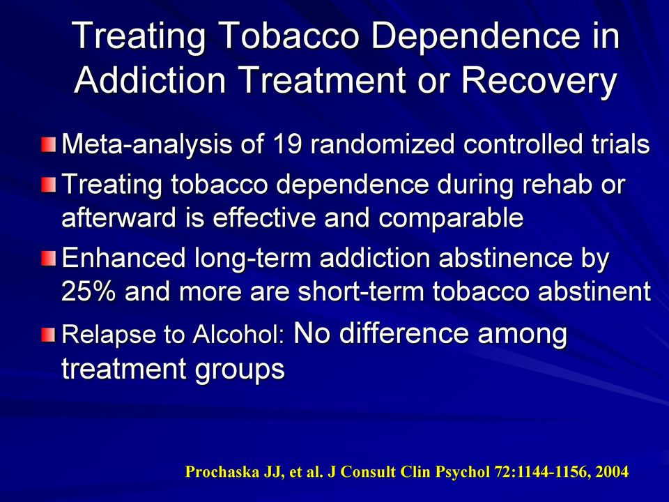 Enhanced long-term addiction abstinence by 25% and more are short-term tobacco abstinent Relapse to