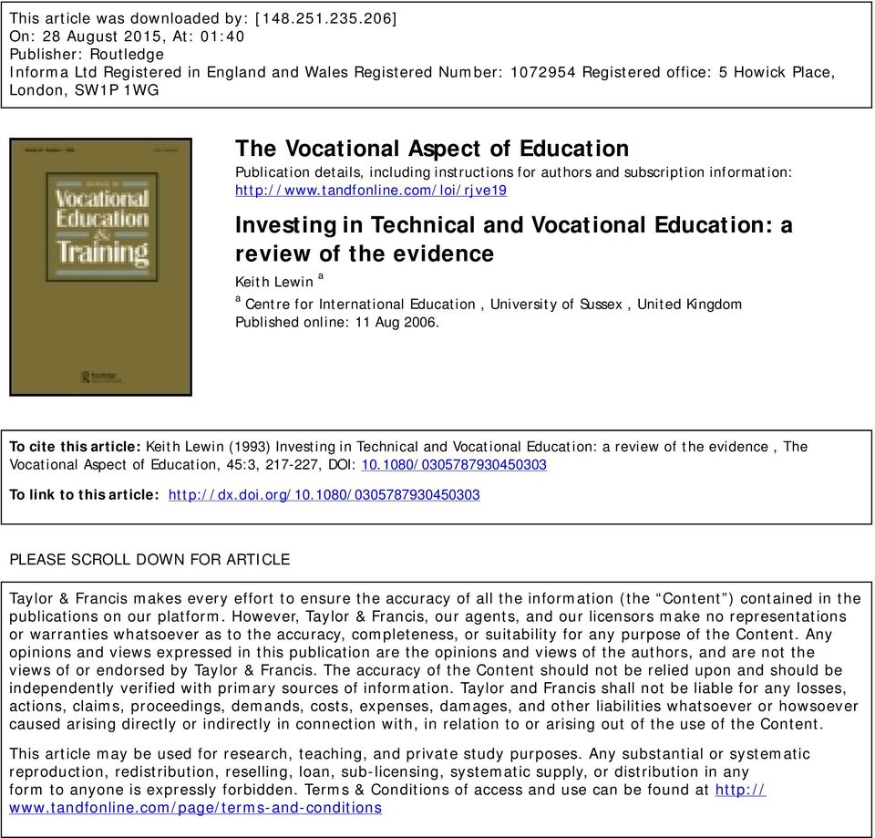 Aspect of Education Publication details, including instructions for authors and subscription information: http://www.tandfonline.