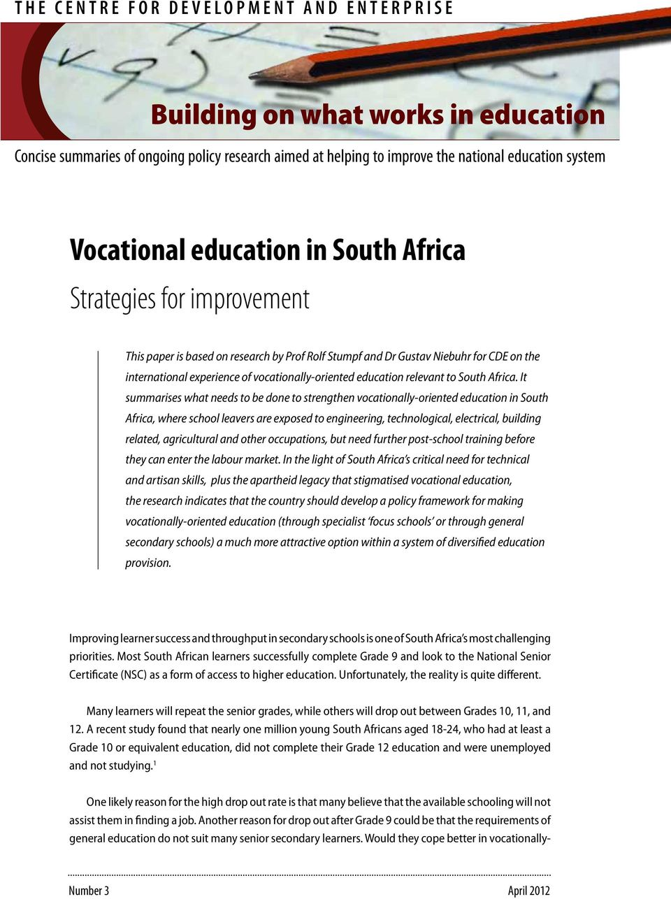 education relevant to South Africa.