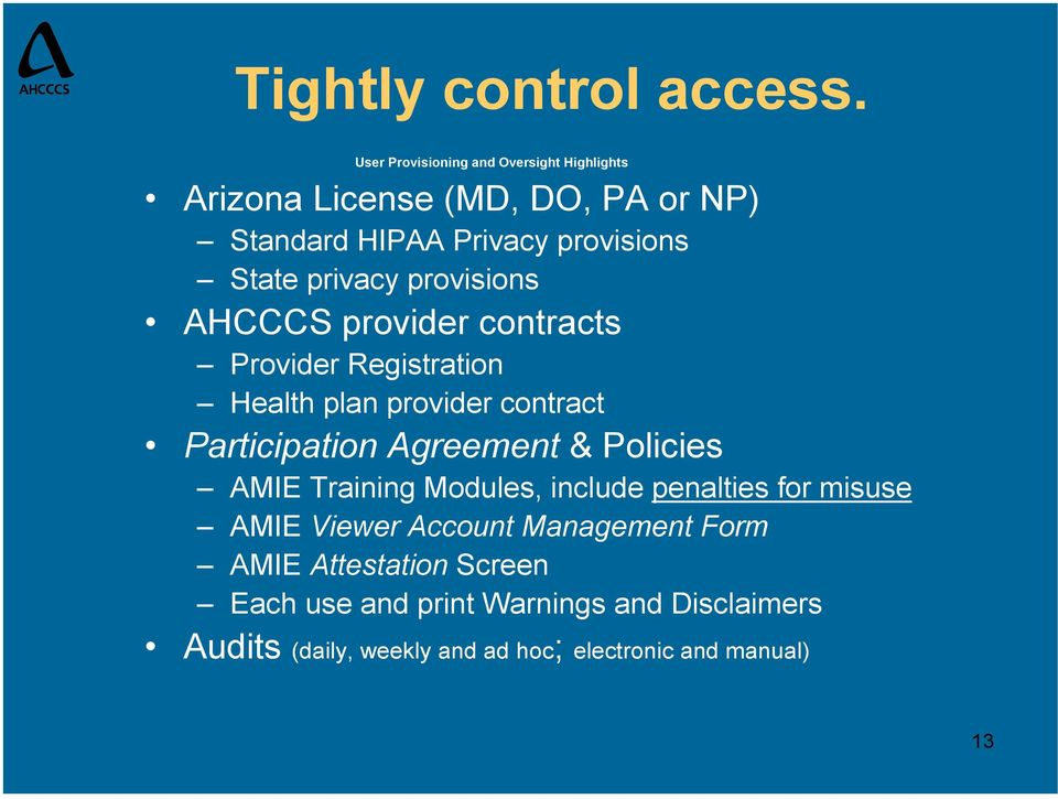 privacy provisions AHCCCS provider contracts Provider Registration Health plan provider contract Participation Agreement &