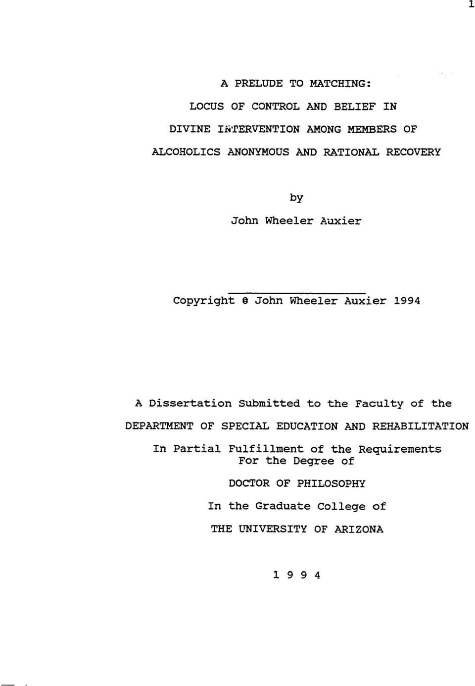 John Wheeler Auxier 1994 A Dissertation Submitted to the Faculty of the DEPARTMENT OF SPECIAL EDUCATION AND