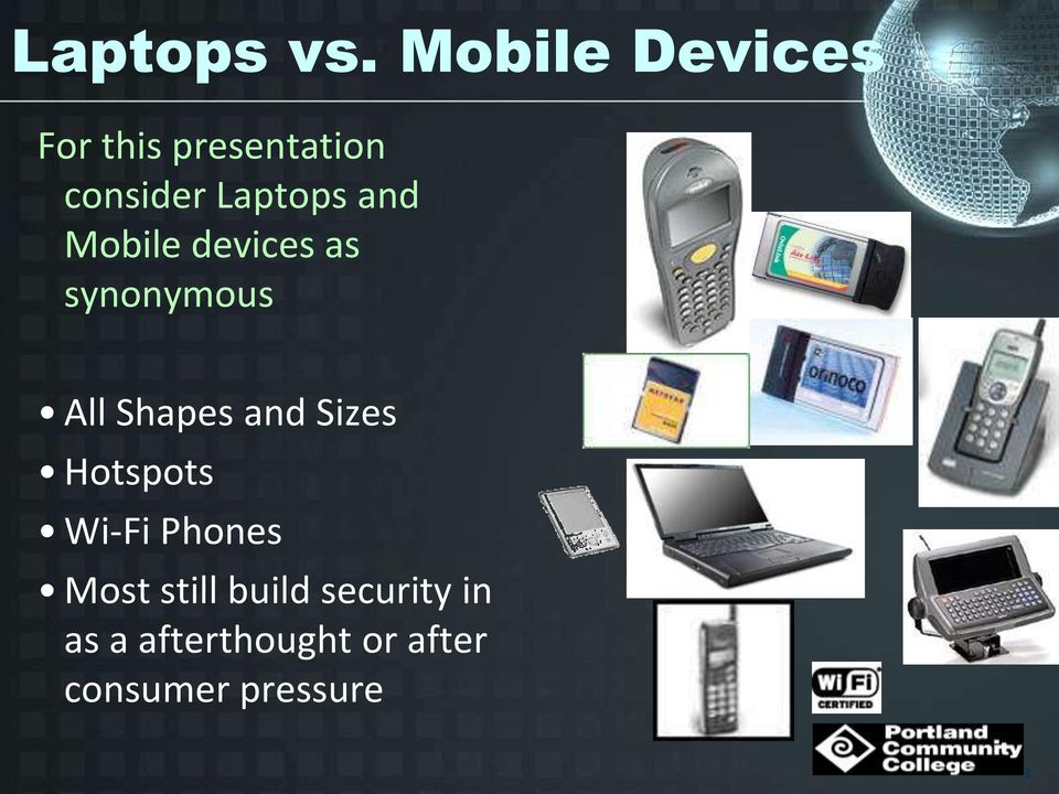and Mobile devices as synonymous All Shapes and Sizes