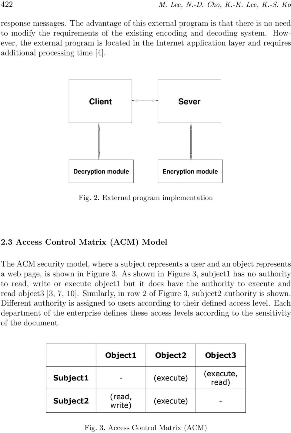 External program implementation 2.3 Access Control Matrix (ACM) Model The ACM security model, where a subject represents a user and an object represents a web page, is shown in Figure 3.