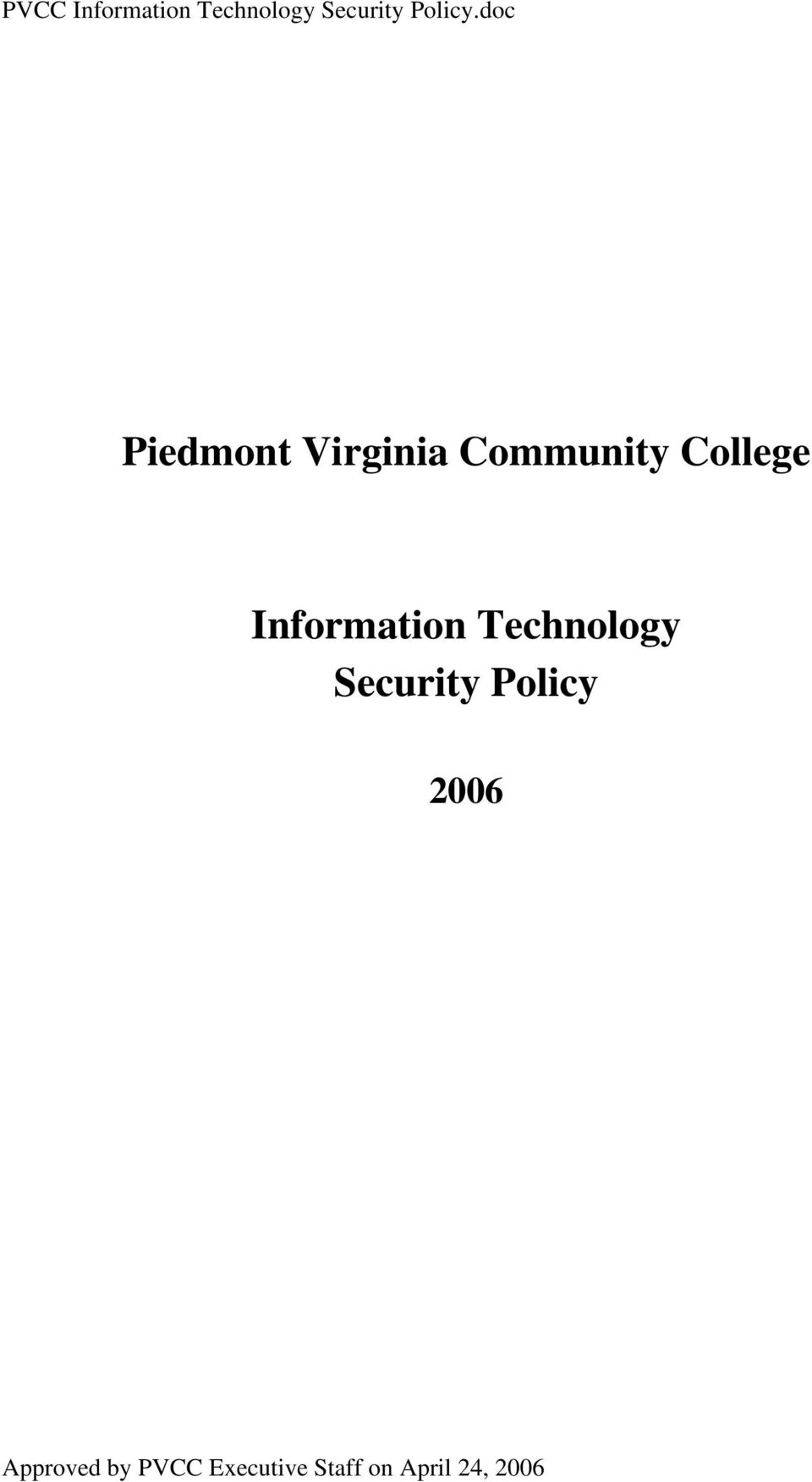Information Technology Security Policy 2006