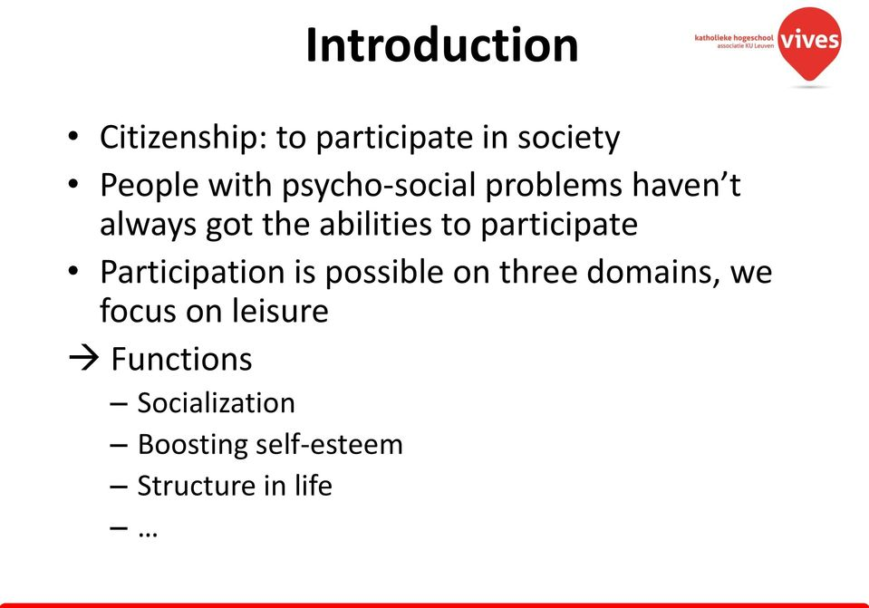 participate Participation is possible on three domains, we focus