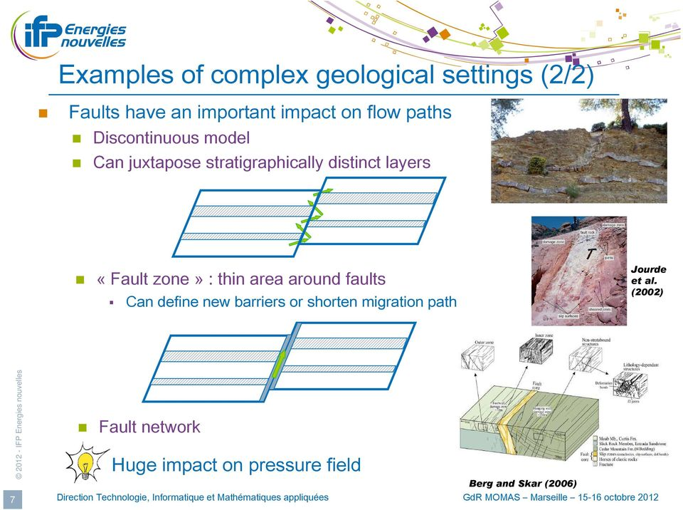«Fault zone» : thin area around faults Can define new barriers or shorten migration
