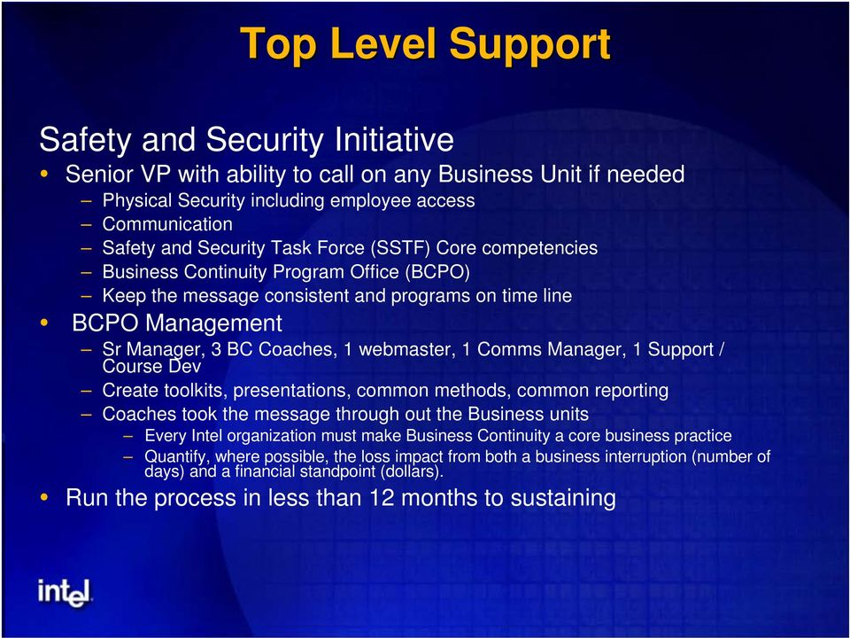Support / Course Dev Create toolkits, presentations, common methods, common reporting Coaches took the message through out the Business units Every Intel organization must make Business Continuity a