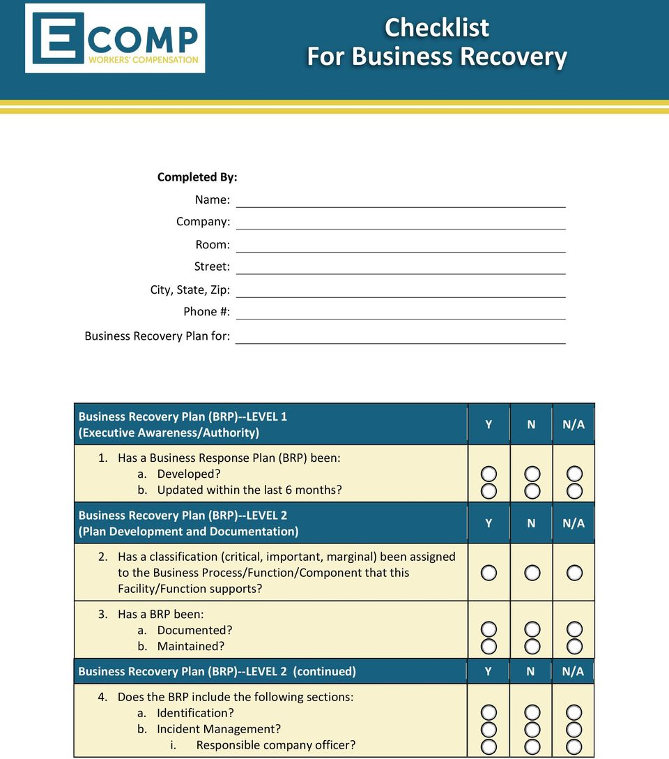 Business Recovery Plan (BRP)--LEVEL 2 (Plan Development and Documentation) 2.