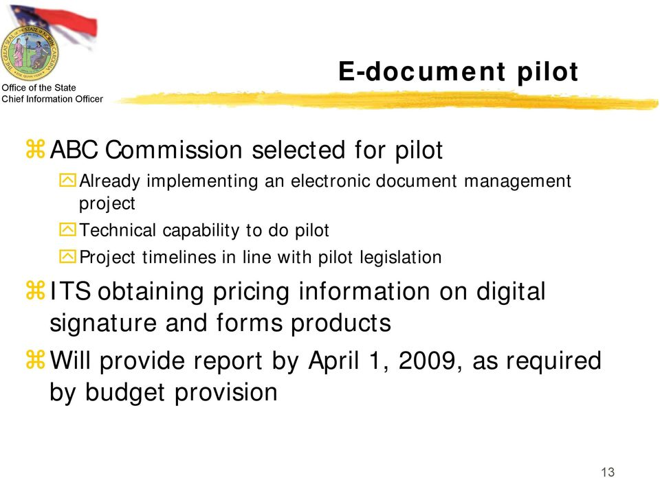 line with pilot legislation ITS obtaining pricing information on digital signature
