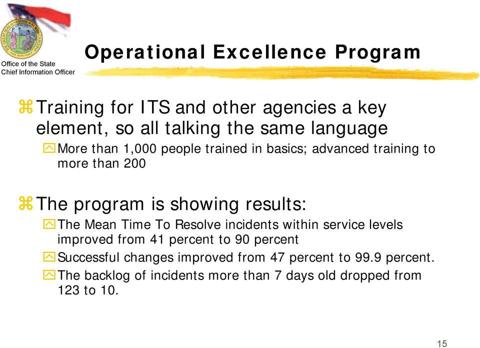 results: The Mean Time To Resolve incidents within service levels improved from 41 percent to 90 percent