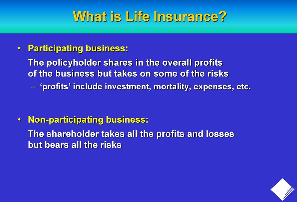 the business but takes on some of the risks profits include investment,