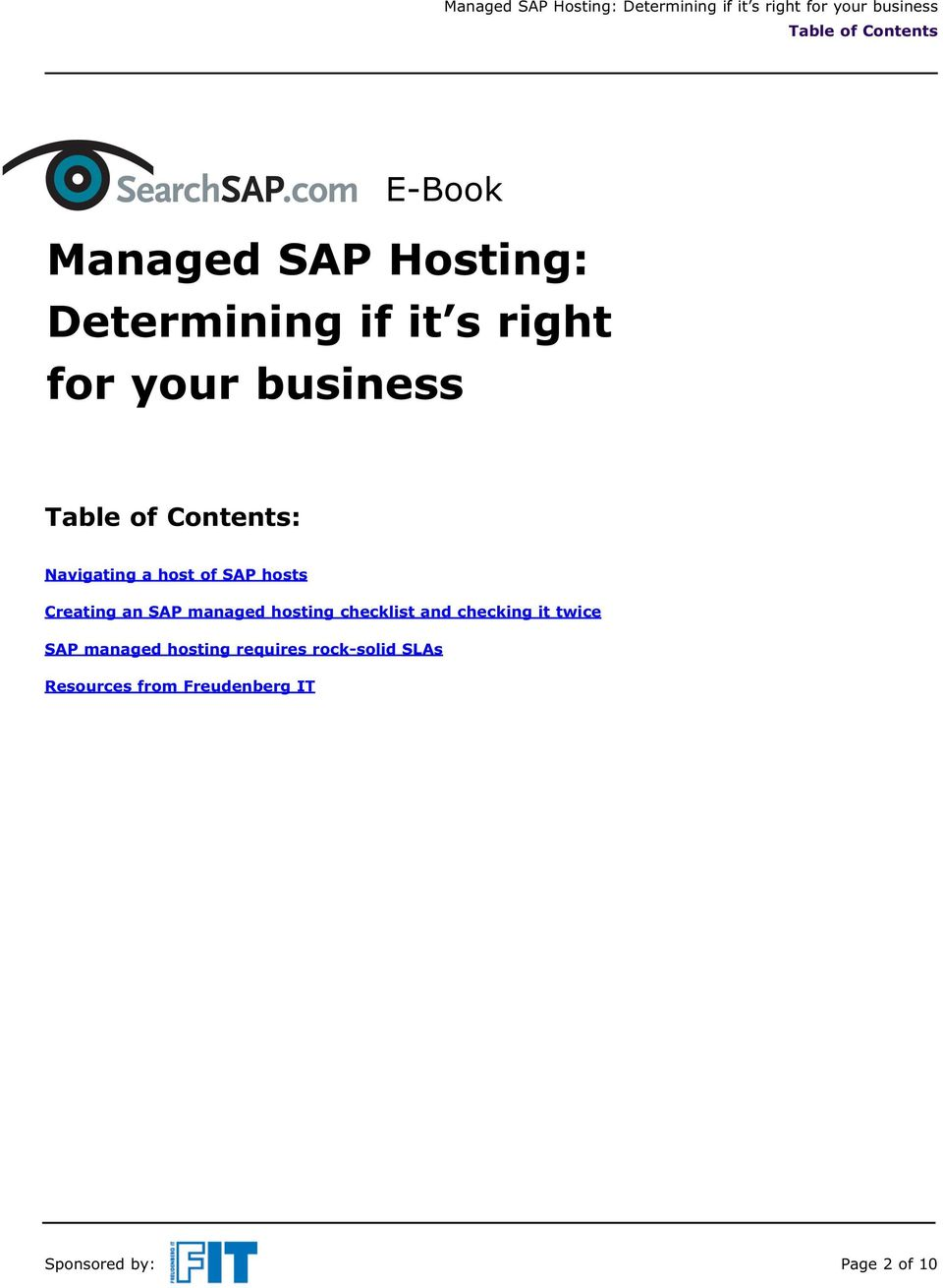 SAP managed hosting checklist and checking it twice SAP managed hosting
