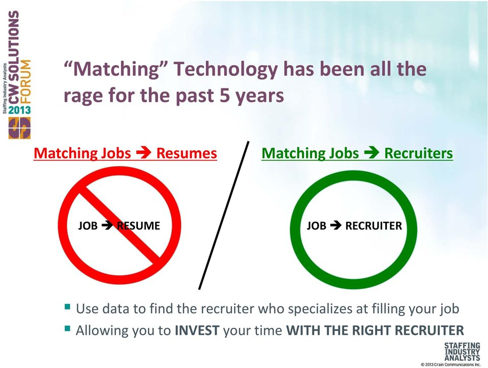 RECRUITER Use data to find the recruiter who specializes at