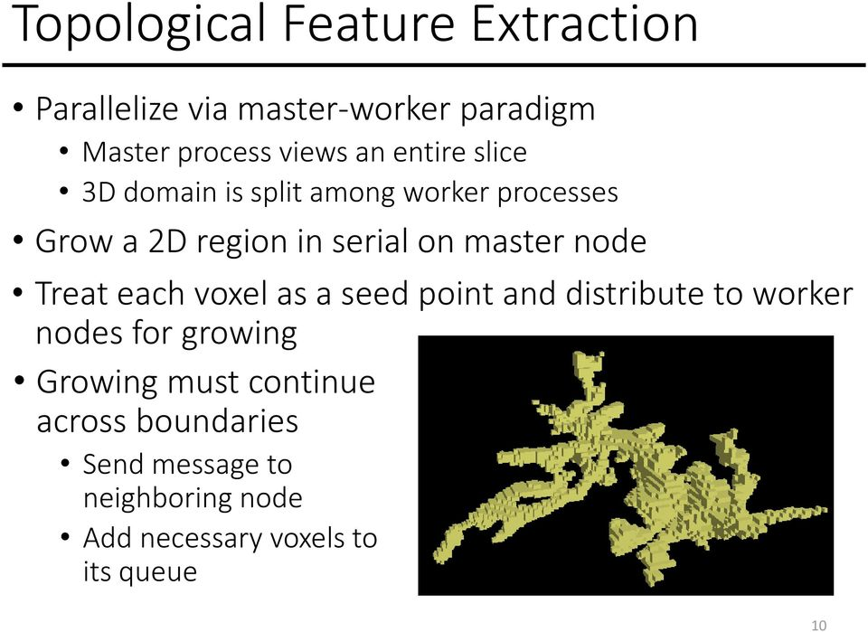 node Treat each voxel as a seed point and distribute to worker nodes for growing Growing must