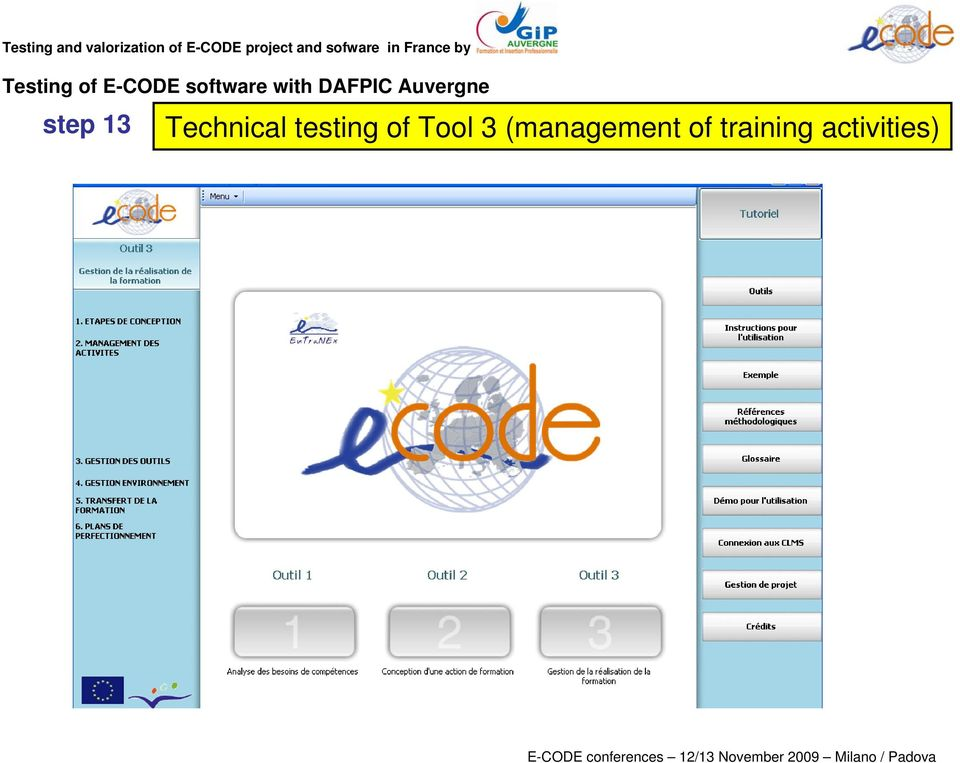 Technical testing of Tool 3