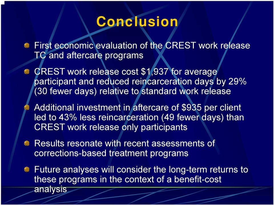 $935 per client led to 43% less reincarceration (49 fewer days) than CREST work release only participants Results resonate with recent