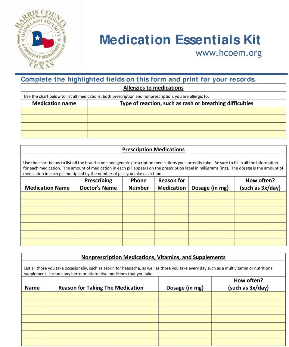 Medication name Type of reaction, such as rash or breathing difficulties Prescription Medications Use the chart below to list all the brand name and generic prescription medications you currently