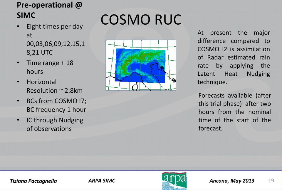 8km BCs from COSMO I7; BC frequency 1 hour IC through Nudging of observations COSMO RUC At present the major