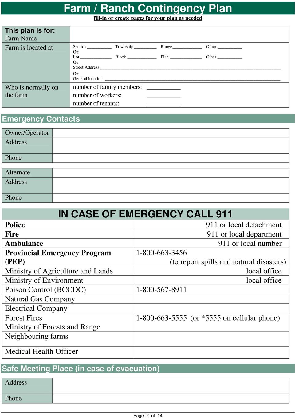 EMERGENCY CALL 911 Police Fire Ambulance Provincial Emergency Program (PEP) Ministry of Agriculture and Lands Ministry of Environment Poison Control (BCCDC) 1-800-567-8911 Natural Gas Company