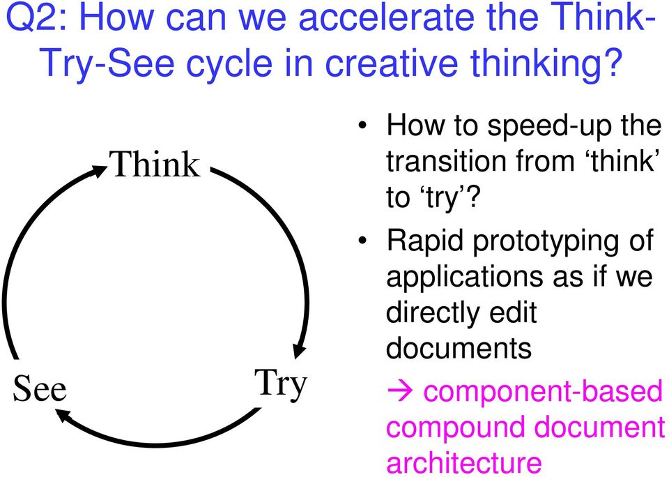 See Think Try How to speed-up the transition from think to try?