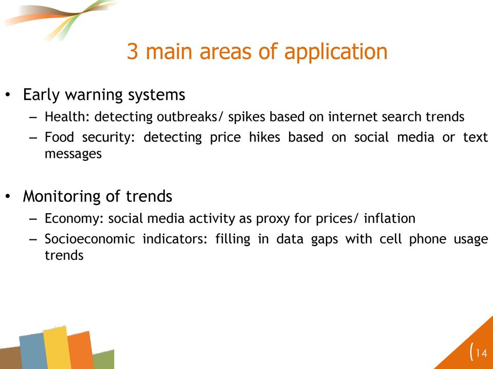 media or text messages Monitoring of trends Economy: social media activity as proxy for