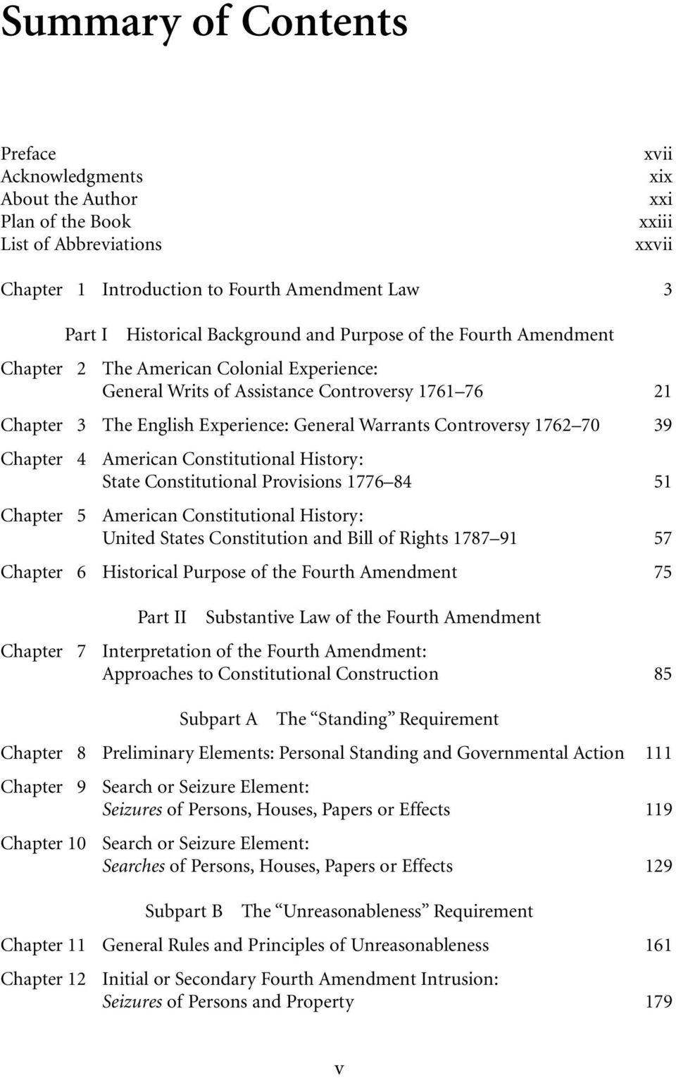 Controversy 1762 70 39 Chapter 4 American Constitutional History: State Constitutional Provisions 1776 84 51 Chapter 5 American Constitutional History: United States Constitution and Bill of Rights