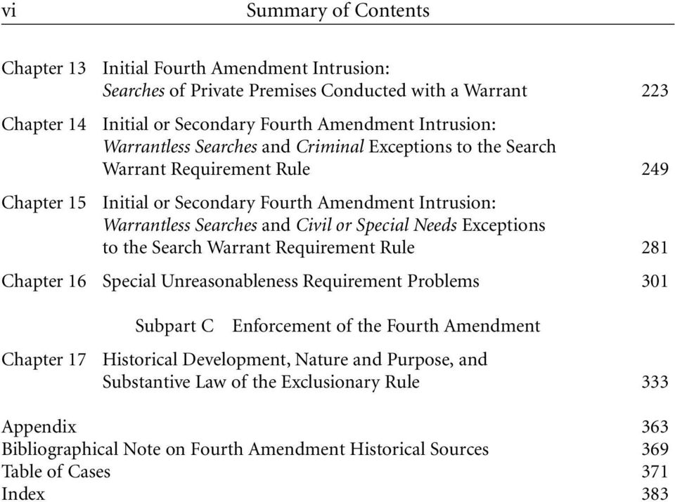 Special Needs Exceptions to the Search Warrant Requirement Rule 281 Chapter 16 Special Unreasonableness Requirement Problems 301 Chapter 17 Subpart C Enforcement of the Fourth Amendment
