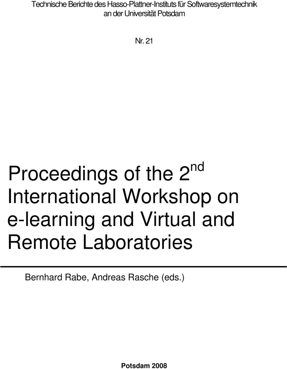 21 Proceedings of the 2 nd International Workshop on e-learning