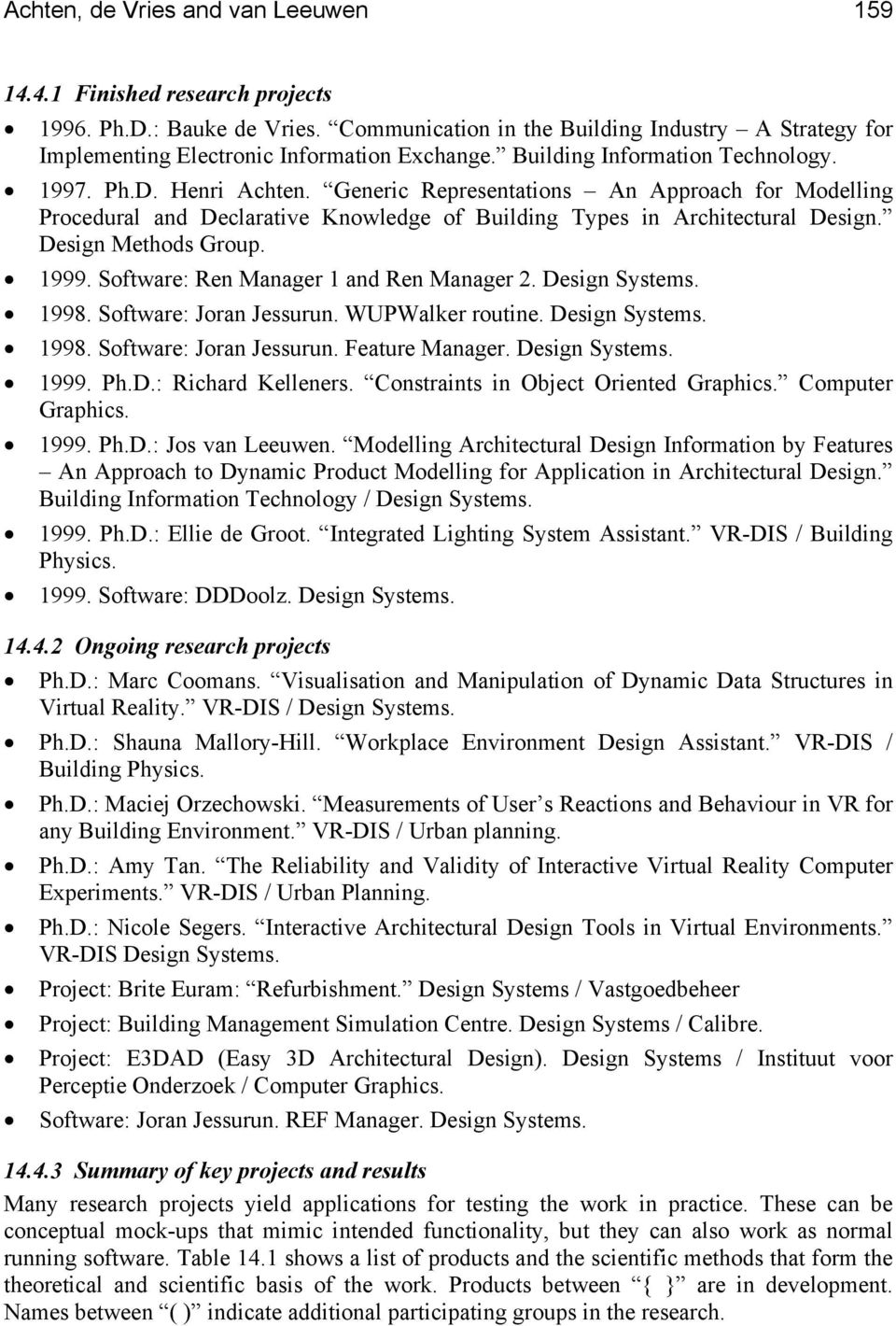 Design Methods Group. 1999. Software: Ren Manager 1 and Ren Manager 2. Design Systems. 1998. Software: Joran Jessurun. WUPWalker routine. Design Systems. 1998. Software: Joran Jessurun. Feature Manager.