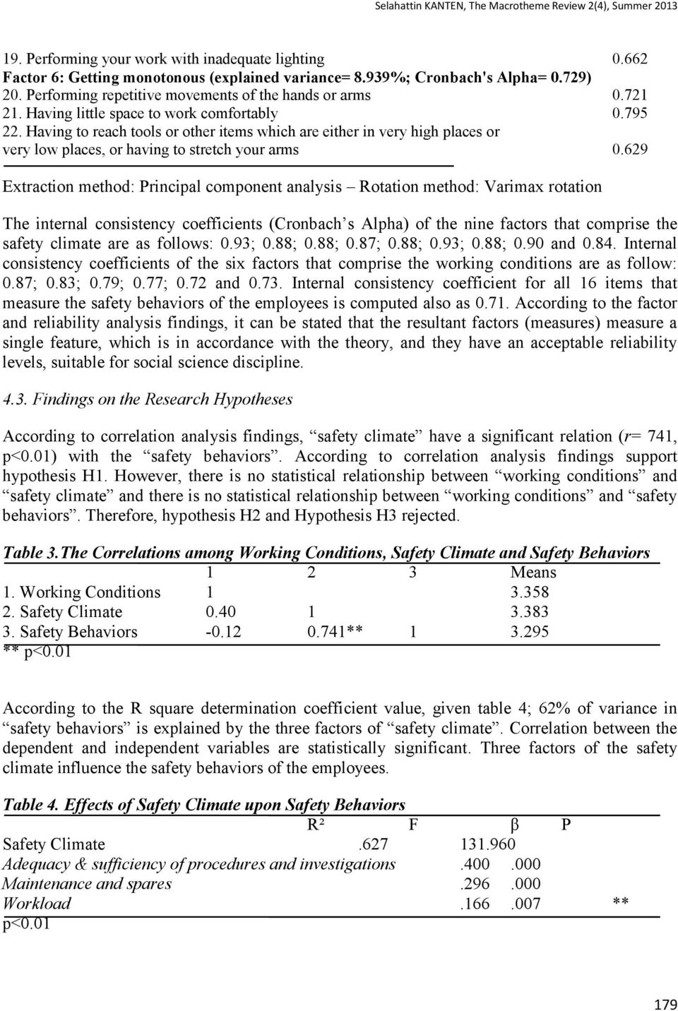 629 Extraction method: Principal component analysis Rotation method: Varimax rotation The internal consistency coefficients (Cronbach s Alpha) of the nine factors that comprise the safety climate are