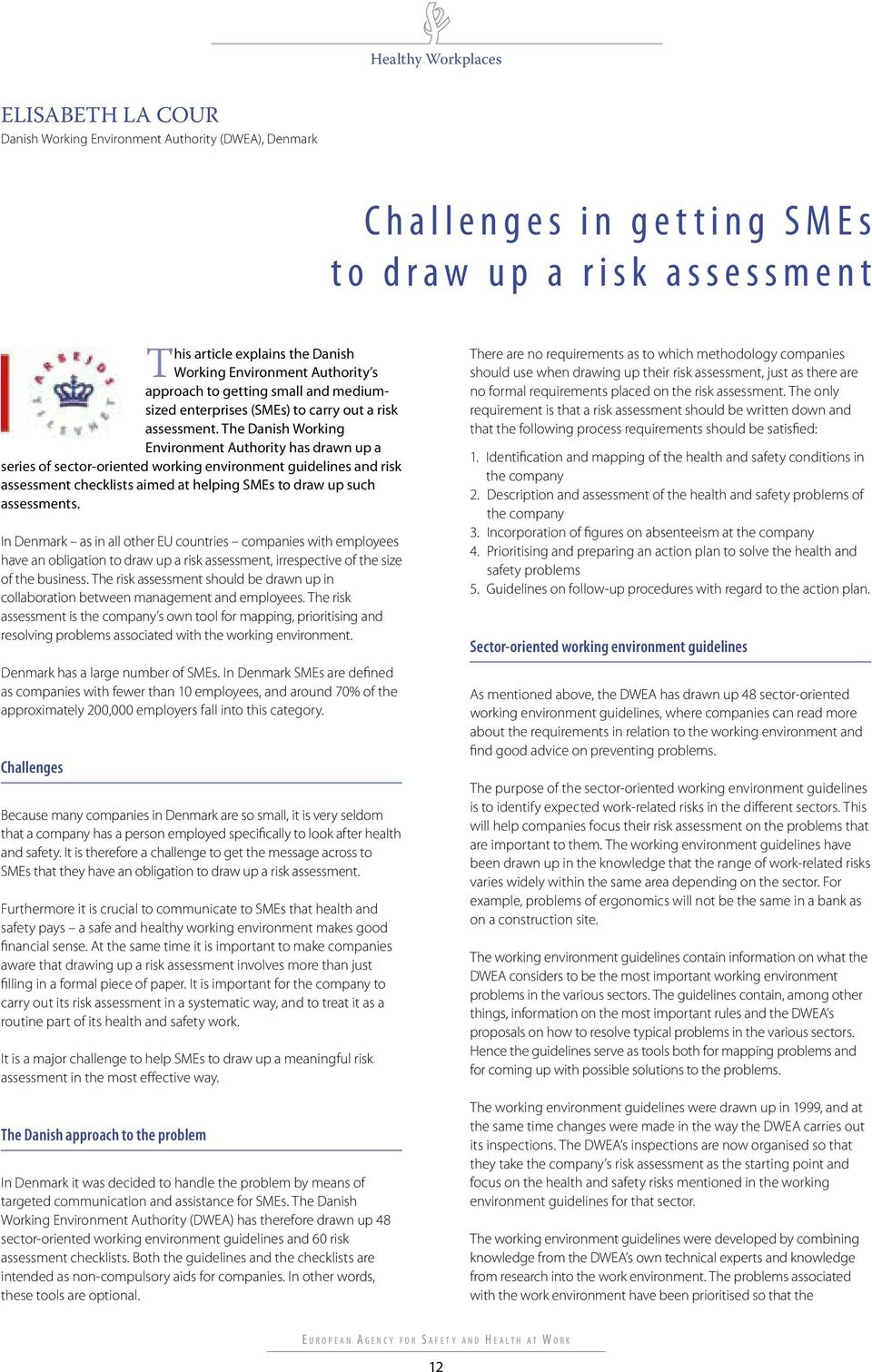 The Danish Working Environment Authority has drawn up a series of sector-oriented working environment guidelines and risk assessment checklists aimed at helping SMEs to draw up such assessments.
