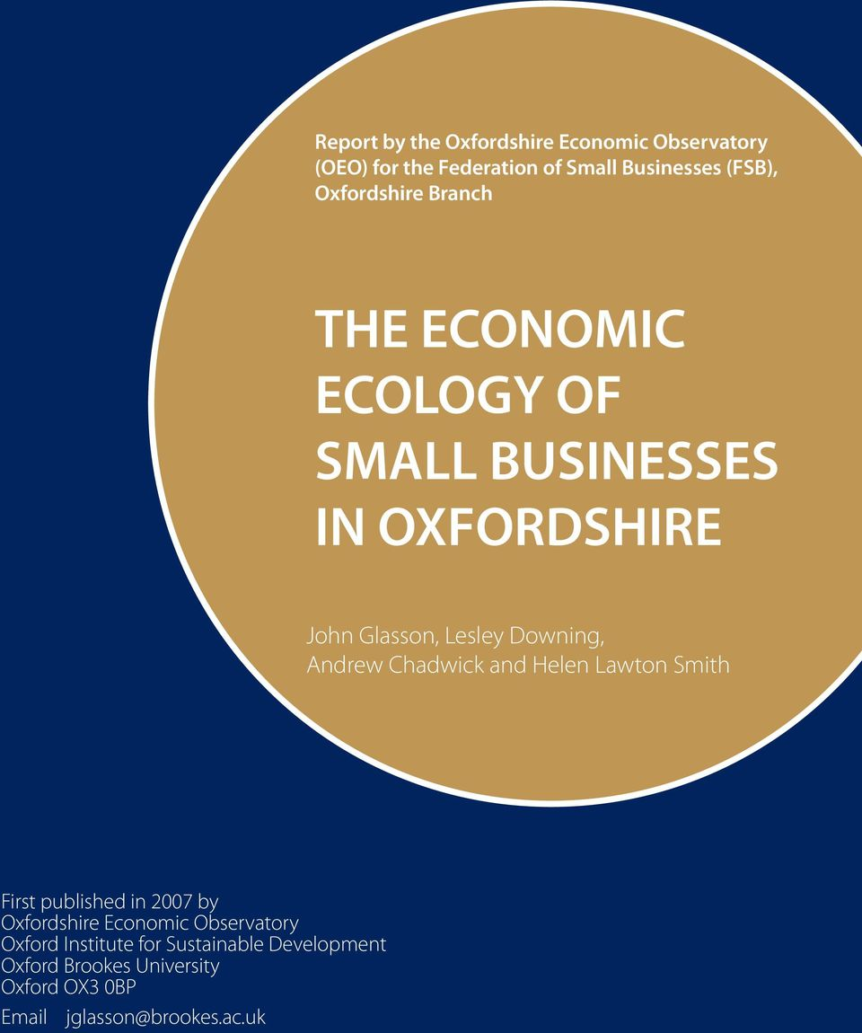 Andrew Chadwick and Helen Lawton Smith First published in 2007 by Oxfordshire Economic Observatory