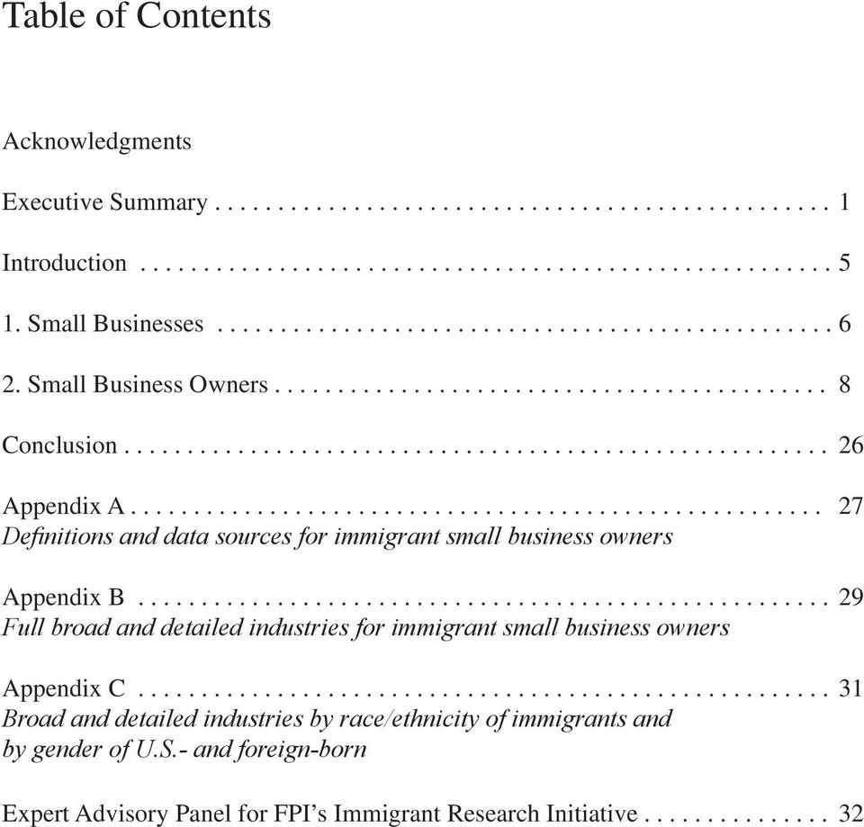 ...................................................... 27 Definitions and data sources for immigrant small business owners Appendix B.