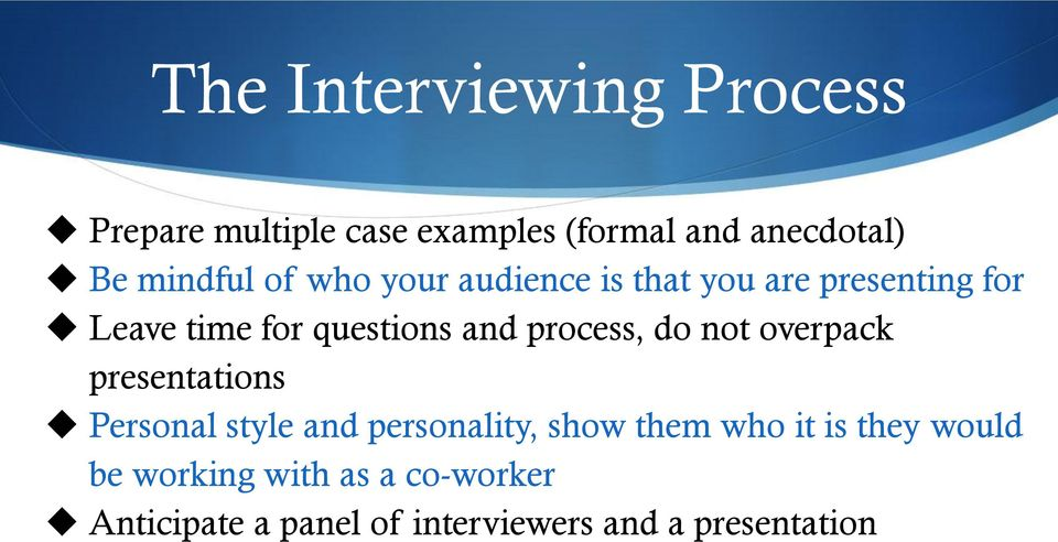 do not overpack presentations Personal style and personality, show them who it is they