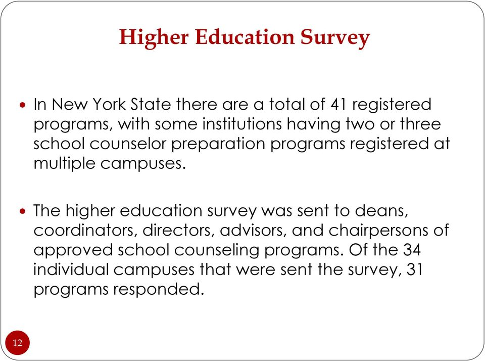 The higher education survey was sent to deans, coordinators, directors, advisors, and chairpersons of