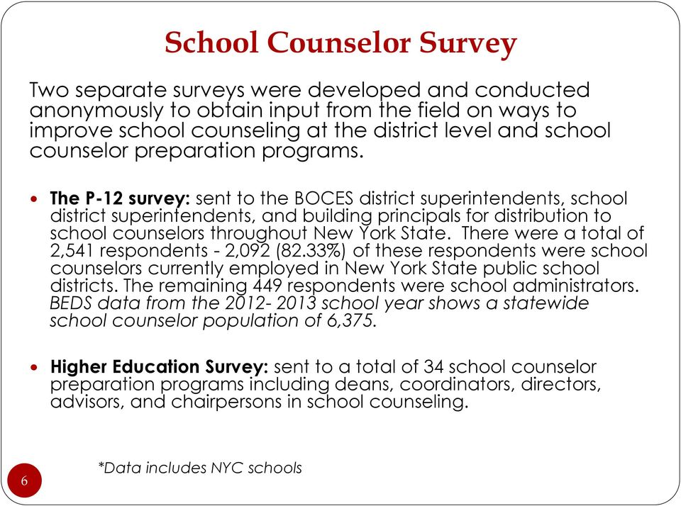 The P-12 survey: sent to the BOCES district superintendents, school district superintendents, and building principals for distribution to school counselors throughout New York State.