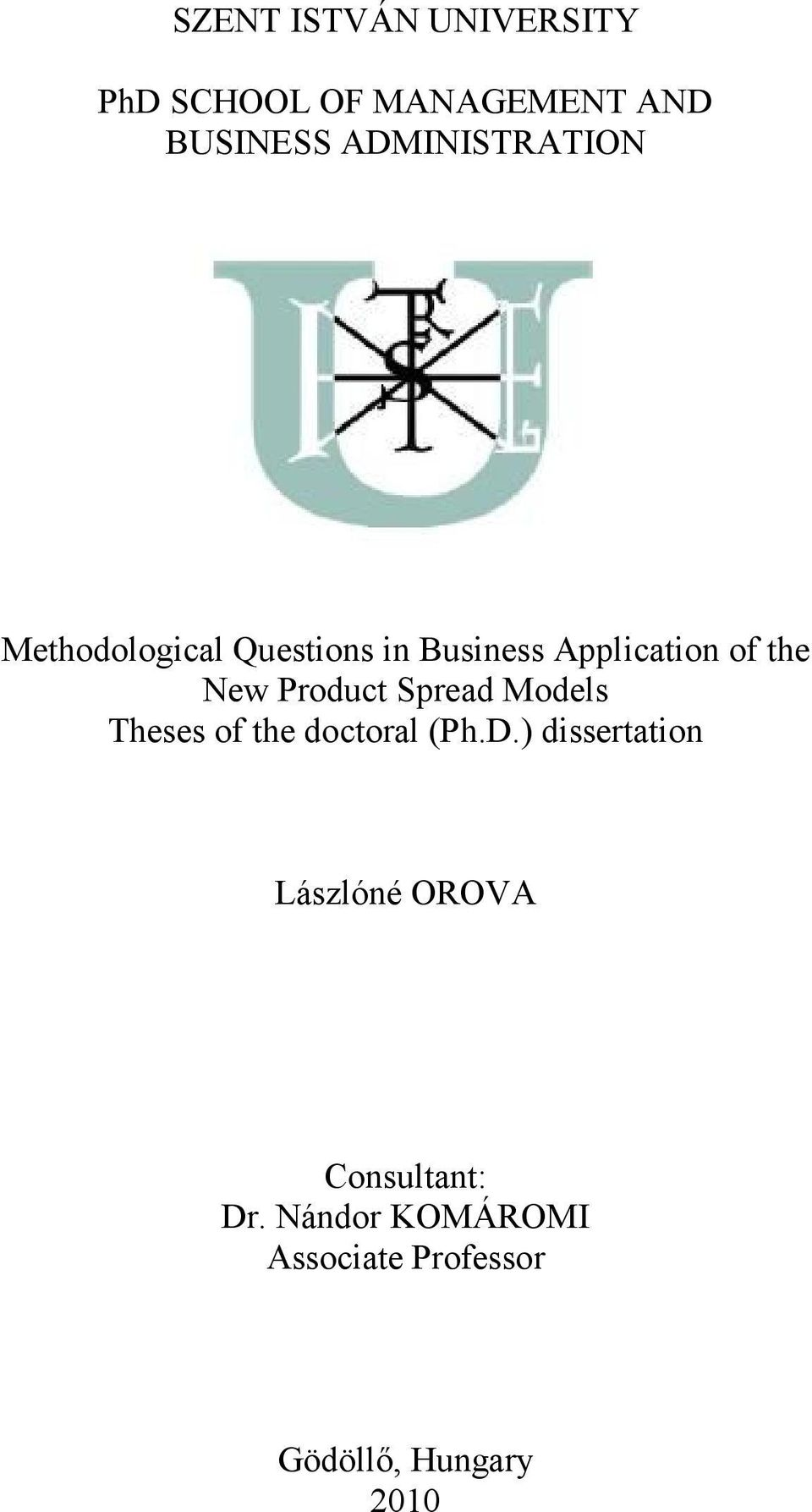 New Product Spread Models Theses of the doctoral (Ph.D.