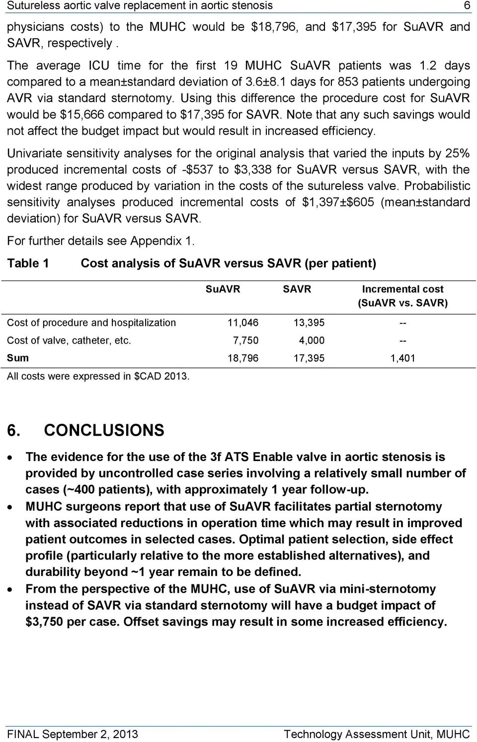 Using this difference the procedure cost for SuAVR would be $15,666 compared to $17,395 for SAVR.