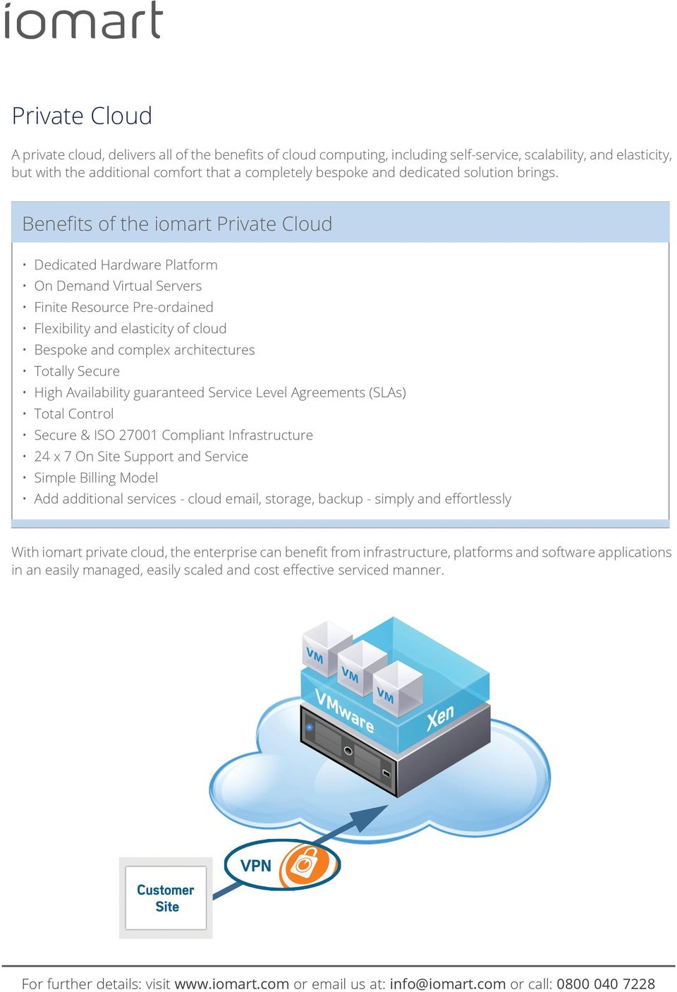 Benefits of the iomart Private Cloud Dedicated Hardware Platform On Demand Virtual Servers Finite Resource Pre-ordained Flexibility and elasticity of cloud Bespoke and complex architectures Totally