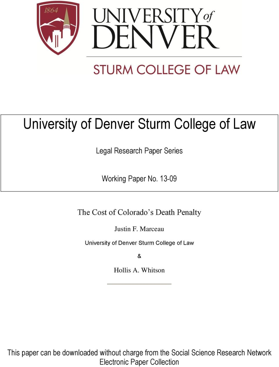 Marceau University of Denver Sturm College of Law & Hollis A.