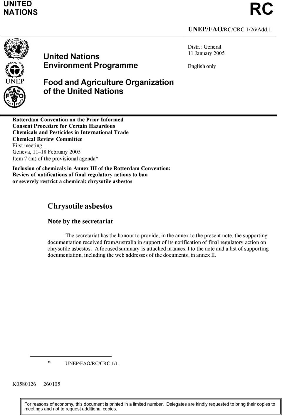 Pesticides in International Trade Chemical Review Committee First meeting Geneva, 11 18 February 2005 Item 7 (m) of the provisional agenda* Inclusion of chemicals in Annex III of the Rotterdam