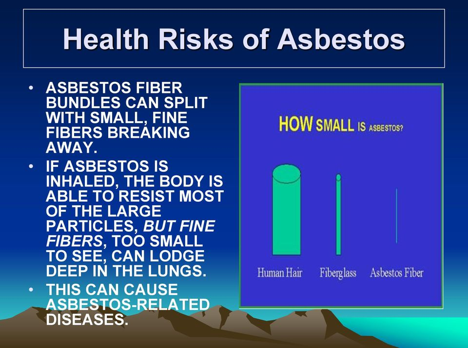IF ASBESTOS IS INHALED, THE BODY IS ABLE TO RESIST MOST OF THE LARGE