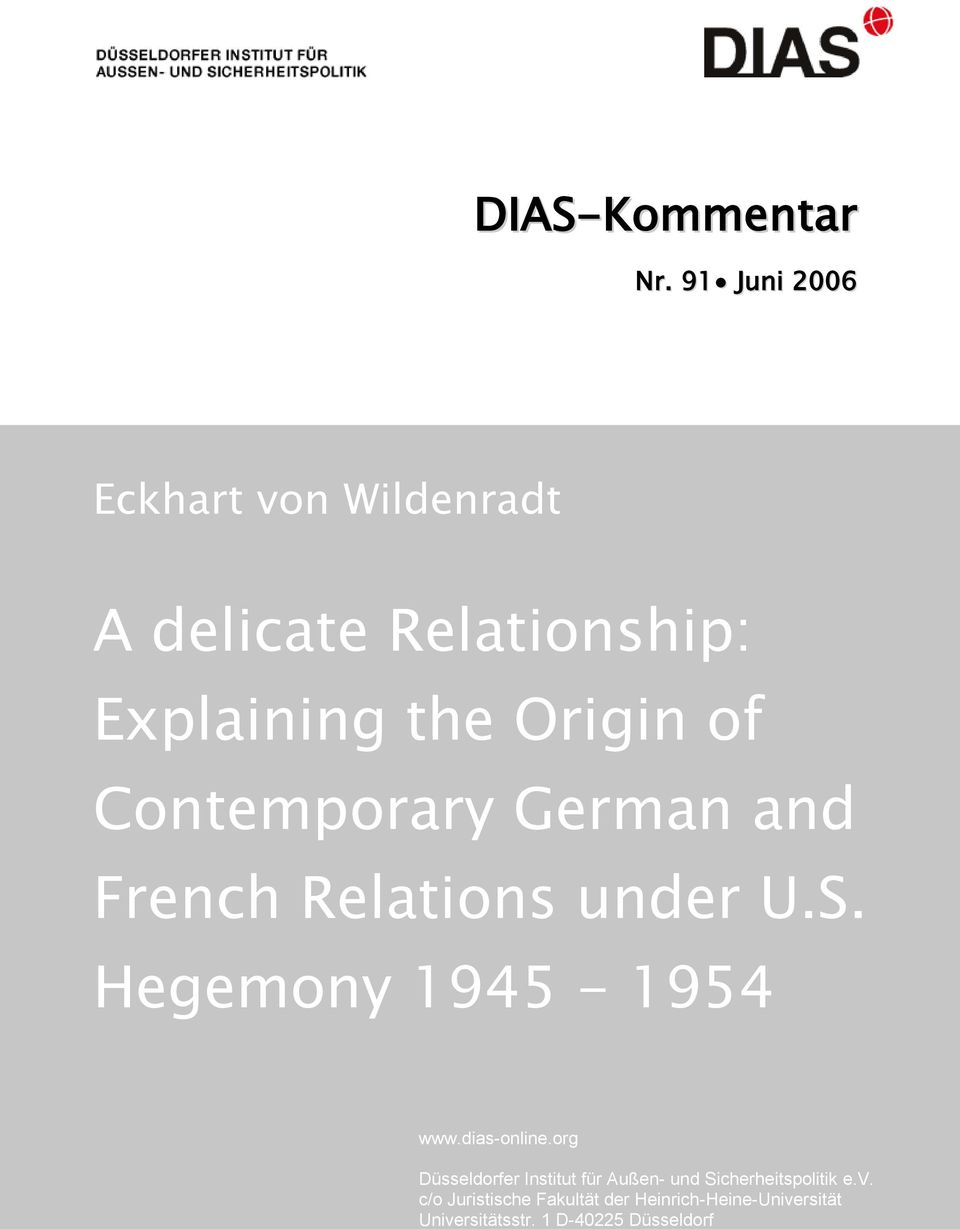 Contemporary German and French Relations under U.S. Hegemony 1945-1954 www.dias-online.