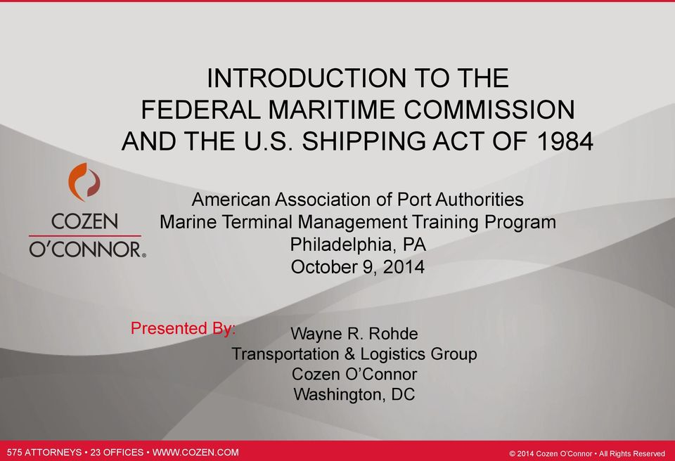 SHIPPING ACT OF 1984 American Association of Port Authorities Marine