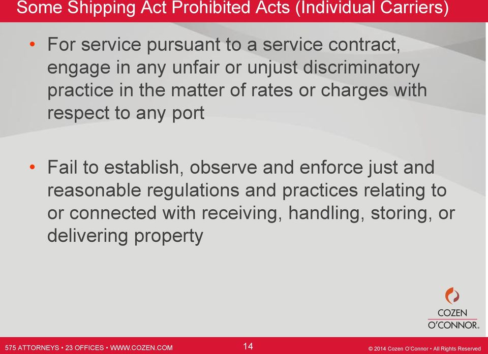 charges with respect to any port Fail to establish, observe and enforce just and reasonable