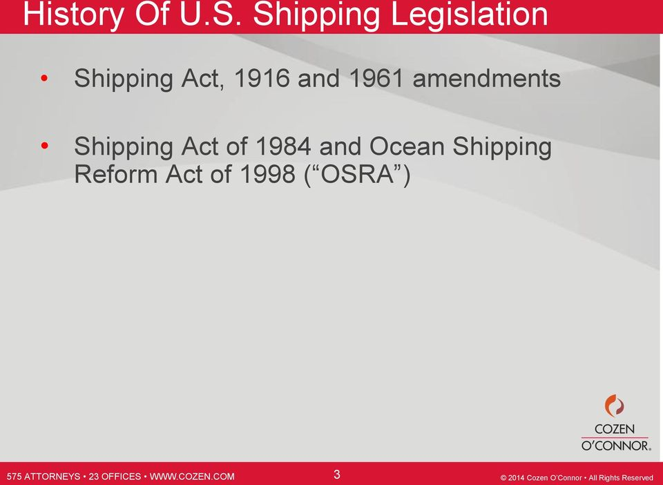 1916 and 1961 amendments Shipping