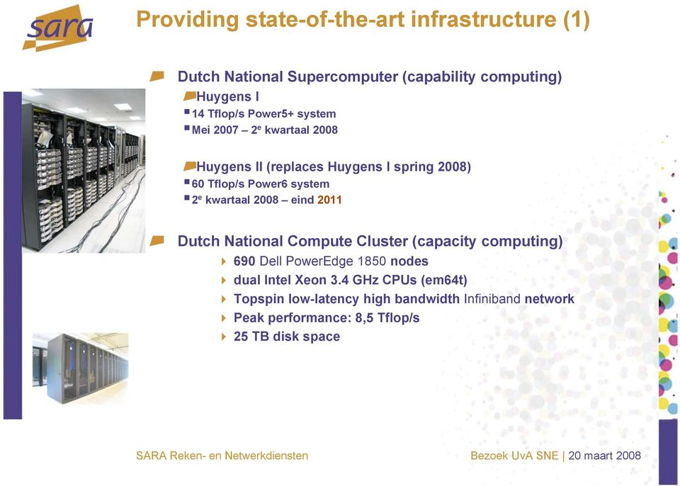 kwartaal 2008 eind 2011 Dutch National Compute Cluster (capacity computing) 690 Dell PowerEdge 1850 nodes dual Intel